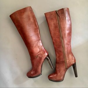 Nine West real leather brown knee high boots 10.5
